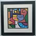 Romero Britto Girl With Bow Pop Art Sign Framed
