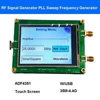 35M-4.4G RF Signal Generator Sweep PLL Spot Frequency Generator USB Cable Touch
