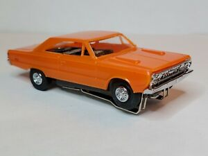 NEW ORANGE 67 PLYMOUTH GTX & AW  CHASSIS, CHROME HUBS & NEW TIRES  HO SLOT CAR