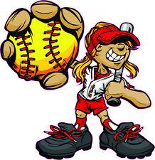 "Softball 3.9"" by 4"" - Window Sticker, Bumper"