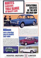 HILLMAN IMP MINX SUPER MINX & HUSKY ESTATE RETRO A3 POSTER PRINT FROM ADVERT
