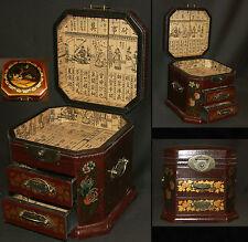 A chine art d'Asie Coffret à bijoux 20cm boite à secrets bois laqué cigognes