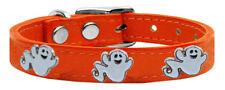 Halloween Dog Collar Ghost Widget Genuine Leather Puppy XXS - XL Adjustable USA