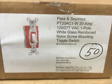 (50) P&S PT20AC1-W 20A 120/277V White Plugtail Single Pole Toggle Switch