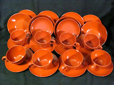 Vtg Melamine 26 pc Set Burnt Orange Coffee/Tea Cups w/ Saucers, Plates and Bowls