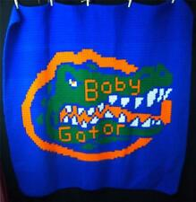 Handmade University of Florida Baby Gator Football Crochet Afghan Throw Blanket