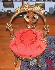 """19 C HAND-CARVED GILT ARM CHAIR & 3 BEAUTY FLOWER DESIGN NEW UPHOLSTERY H=35"""""""