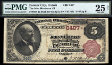 $5 1882 John Weedman National Bank of Farmer City, Illinois ONLY 4 BROWN KNOWN
