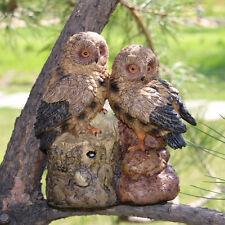 Pairs Owls on Tree Figurine Resin Statue Sounding Animal Lawn Garden Decor