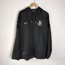 Nike Mens Therma Fit Full Zip Florida State Seminoles Gray Logo Hoodie XLarge
