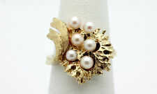 14k Yellow Gold YG Stunning Ornate Design Pearl Cocktail Ring Sz 6.5 7g A429