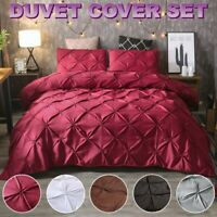 Solid Diamond Pintuck Duvet Cover Set Twin Queen King Size Bedding Set Soft US