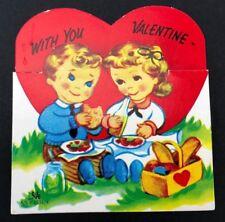 Vtg 1956 50s Lifes a Picnic Valentines Card Boy Girl Basket Die Cut Linda Wedig