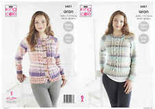 King Cole 5451 Knitting Pattern Womens Cabled Sweater & Cardigan in Drifter Aran