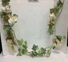 White Rose Garland ivy  Leaves Spring Summer Decor Floral Wedding Mantel Door