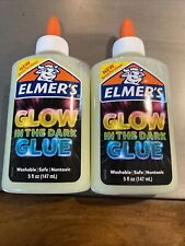 (2) Elmer's Glow In The Dark Glue ~ 5oz ~ Nontoxic ~ Washable ~ Great For Slime