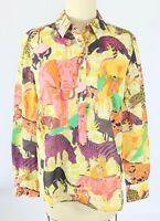 J CREW Size 2  Cotton Classic Popover Shirt in Ratti Safari Print Blouse Top NWT