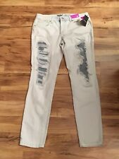 """Mossimo Size 6 Inseam 28"""" Skinny Jeans Distressed Light Blue Patches"""