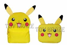 "POKEMON CANVAS BACKPACK & LUNCH BOX SET! PIKACHU FURRY EARS YELLOW 16"" NWT"