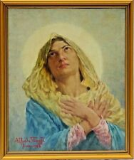 "Alfredo Viaggi (Italy, Early 20th Cen.) Oil Painting ""Saint Rose of Lima"" c.1968"