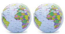2 x 30cm Inflatable Globe World Atlas - Map Earth Blow Up Ball Learn Geography