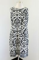 Tyler Boe Womens Black White Linen Sleeveless Floral Print Shift Dress Size M