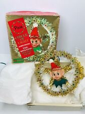 Vintage Christmas Holiday Tree Topper Pixie Elf Light Star in Box
