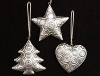 Gisela Graham Set of 3 Pale Gold Tin Heart Tree Star Swirl Christmas Decoration