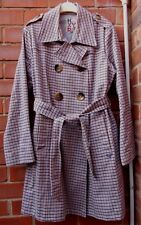 Ladies Designer ROXY Blue Check Cotton Double Breasted Mack/Trench Coat - Size L