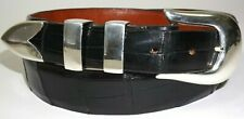 Douglas Magnus Sterling Silver .925 Buckle Set with 38 inch Alligator Belt Black