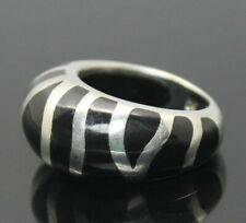 Sterling Silver Domed Ring Size 7.75 Hallmarked Ap Stylish Black Enamel Inlay
