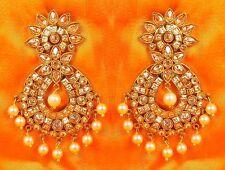 7236 South Indian Antique Gold Plated CZ Kundan Polki Wedding Earring Jhumka Set