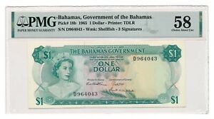 BAHAMAS banknote 1 Dollar 1965 PMG AU 58 Choice About Uncirculated