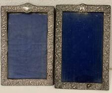 Pair Of Large Antique Art Nouveau Solid Silver Picture Photo Frames