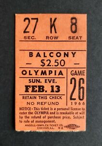 Red Wings vs Canadiens 1966 Hockey Ticket Stub Gordie Howe Goal Gump Worsley Win