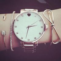 3Pcs/Set Fashion Women Gold Arrow Bracelet Rhinestone Opening Bangle Bracelets