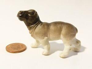 Antique Vintage Small Bisque Porcelain Baby Hippopotamus Hippo Dolls House #D2*