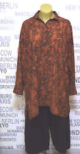 OPHILIA: modisches Lagenlook Blusen Long Shirt orange/schwarz Gr. 54 - 56 NEU