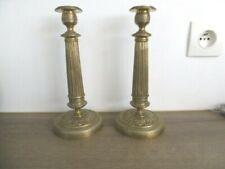 Ancienne paire de bougeoirs en bronze empire