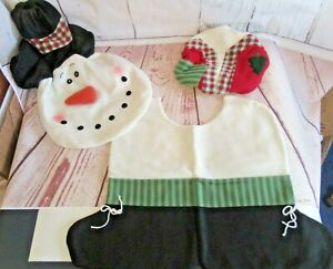 Christmas Snowman Toilet Set Floor Mat Full Tank Cover w/Tissue Seat Cover NEW