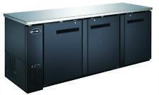 """Saba 90"""" Sbb-27-90B Black Back Bar Refrig & Beverage Cooler,3 Doors,27"""" Depth"""