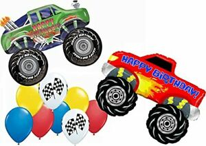 Monster Truck Party Supplies 10pc Balloon Bouquet Decorations Red and Green B...