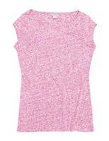 J.Crew Mercantile Women's M - NWT - Pink Heather Linen Blend Cap Sleeve Tee