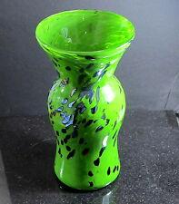 GREEN Art Glass OIL SPOT silver spots  VASE hand blown glass  ORIGINAL USA