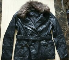womens Stunning NEW LOOK fake Leather bikers jacket faux fur trim size uk 12
