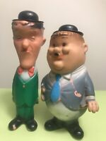 LAUREL AND HARDY RUBBER VINTAGE ORIGINAL DOLL FIGURINES WITH MOVING HATS