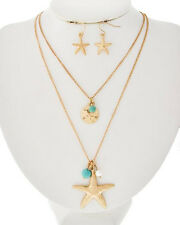 COASTAL BOUTIQUE -Gold Starfish Charms 2 strand Necklace Earrings Set 1203 blue
