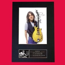More details for malcolm young acdc signed reproduction autograph mounted photo print a4 690