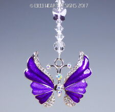 m/w Swarovski Beads Purple Butterfly Car Charm Suncatcher Lilli Heart Designs