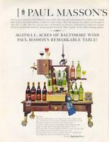 1962 Paul Masson PRINT AD Agatha Acres Wins the Wine Table! Great Vintage Ad